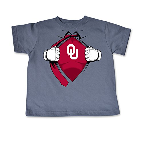 NCAA Oklahoma Sooners Toddler Short Sleeve Super Hero Tee, 3 Toddler, Pewter