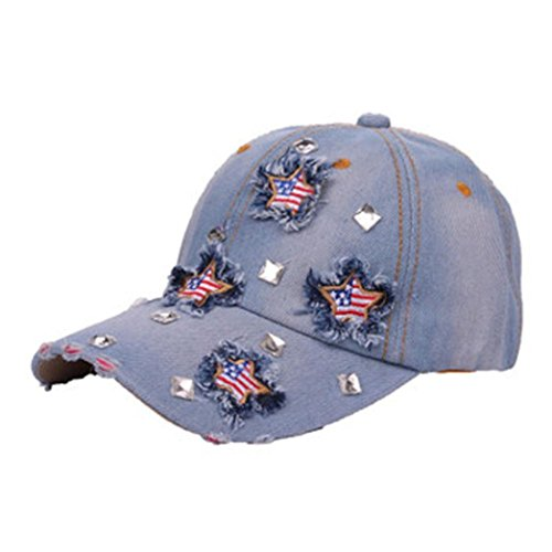 (Women Men Adjustable Bling American Flag Rhinestone Denim Baseball Cap Hat by WOCACHI)