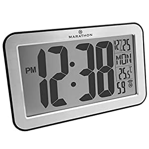 MARATHON CL030033SV Atomic Self-setting Self-adjusting Wall Clock w/ Stand & 8 Timezones - Brushed Silver - Batteries Included