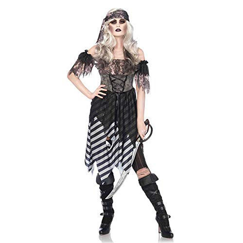 (LVLUOYE Halloween Costume, Caribbean Female Pirate Cosplay Plays Costume, Masquerade Party Performance)