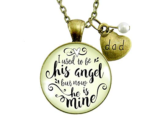 "36"" Dad Remembrance Necklace I Used To Be His Angel Heaven Memorial Jewelry Gift For Women Father Keepsake Pendant Card"