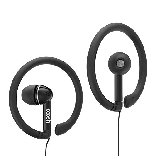 Coosh Wired Comfort In-ear Earbuds Headphones with Removable Earhooks (Black)