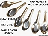 6 x SMALL MASALA DABBA SPOONS **FREE UK POST** INDIAN SPICE CONTAINER SPOONS CANISTER TIN SPOON SPICES AND HERBS