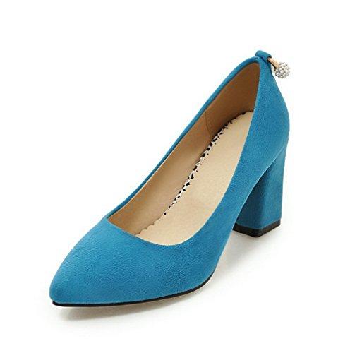 VogueZone009 Damen Hoher Absatz Rein Ziehen auf Lackleder Spitz Zehe Pumps Schuhe, Silber, 43