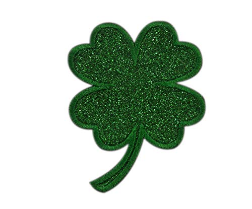Embroidered Glitter Emerald Green Shamrock Lucky Four Leaf Clover Applique Patch Iron On