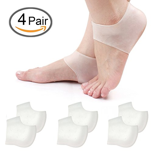 Gel Heel Cups Inserts and Compression Heel Sleeves Socks-4 Pairs, Foot Ankle Pain Relief for Plantar Fasciitis Spurs Pads Cracked, Heel Protection Cushion Shock Absorptio