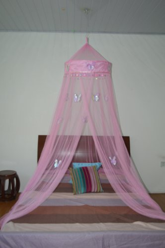 Octorose ® Butterfly Bed Canopy Mosquito NET Crib Twin Full Queen King - Butterfly Pink Canopy