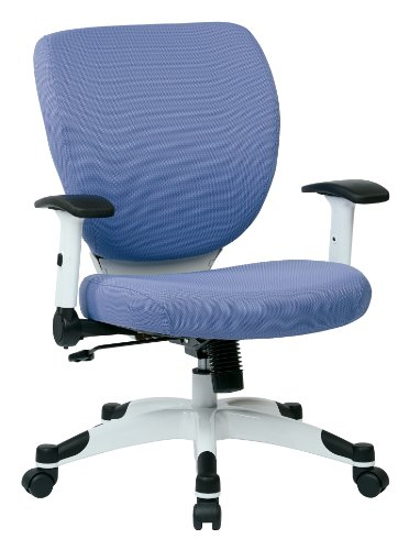 (SPACE Seating Professional Deluxe Padded Mesh Seat and Back, 2-to-1 Synchro, Adjustable Arms and Tilt Tension with White Coated Nylon Base Frame Task Chair, Violet)