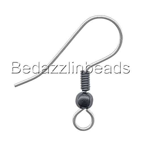 50 Stainless Surgical Steel Ball & Coil Fishhook Hook Earring Findings With Loop (Gunmetal & Surgical ()