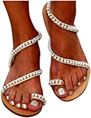 MITCOWBOYS Summer Sandals for Women Elegant Beads Pearl Ring Toe Beach Shoes Party Wedding Flat Sandals
