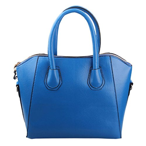 Women Handbag Shoulder Bags Tote Purse Frosted PU Leather Bag Blue - 1