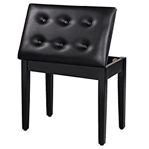 This SONGMICS piano bench serves excellently as piano bench, keyboard bench as well as vanity stool, which features in comfort, durability and simplicity. It is a great choice for both beginners and professionals. The piano bench not only provides yo...