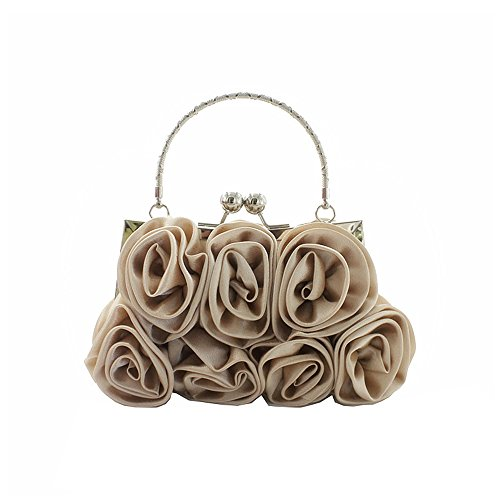 Metal Silk Flowers Ya Women's apricot Frame Lock Handbag Kissing Evening Wedding Bag Jin Clutch qtIIwET