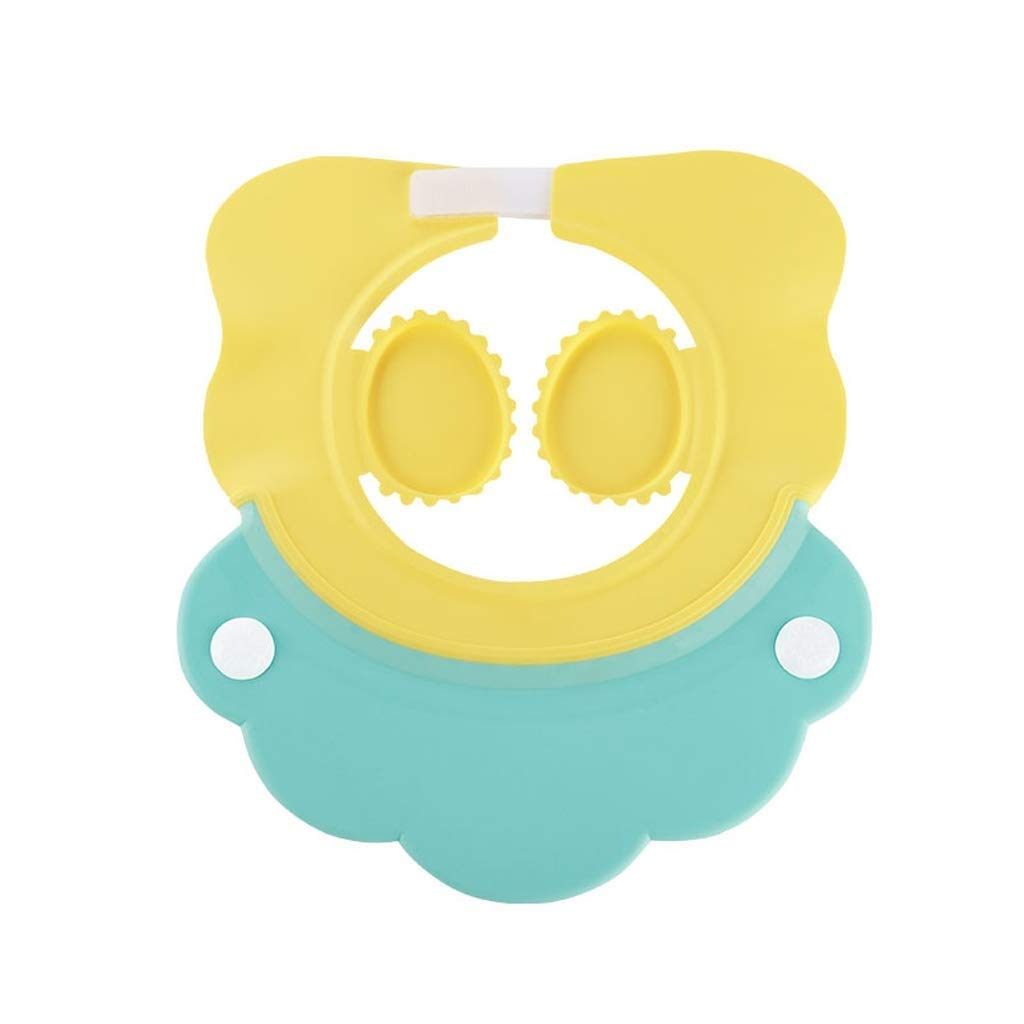 HEMFV Bath Cap,Protection Kids for Cap,Adjustable New Designed Soft Silicone for Children Bathing Protect Eyes Ears (Color : Yellow)