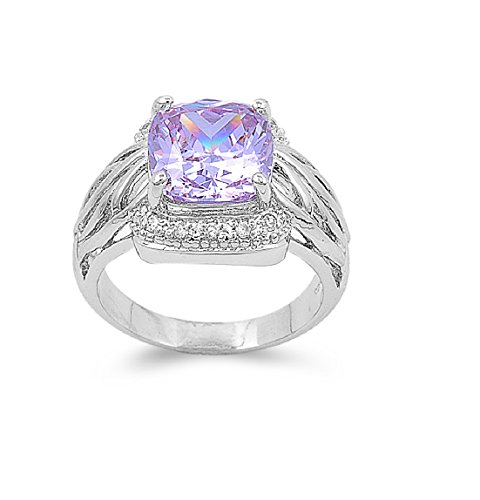 Round Center Light Purple Lavender Cubic Zirconia Ring 925 Sterling Silver Size 7