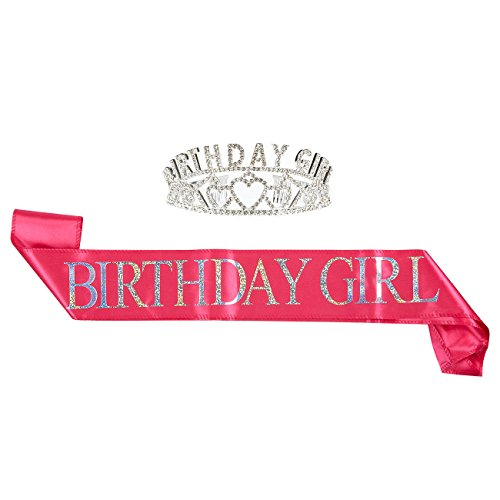 Blue Panda 2-Pack Set Birthday Girl Tiara Birthday Sash - Rhinestone Crown Birthday Girl Polyester Sash Decoration 16th, 18th, 21st 30th Birthdays Quinceaneras