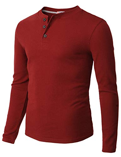 (H2H Mens Casual Henley Long Sleeve Waffle Cotton T-Shirts Wine US S/Asia M (CMTTL0104))