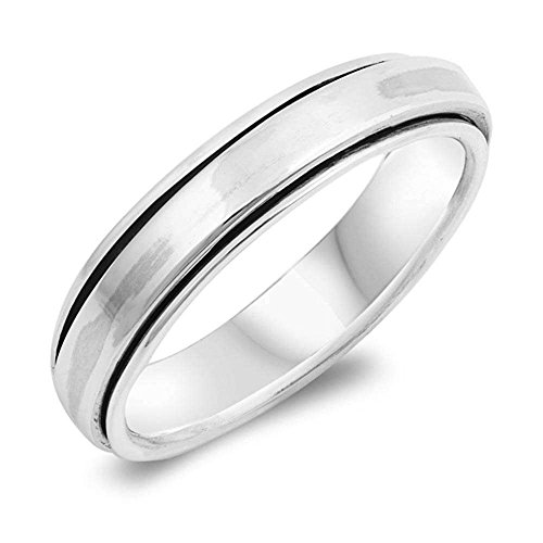 Sterling Silver Solid Plain Spinner Band Ring Sizes -