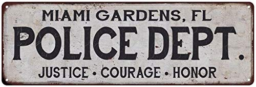 Miami Gardens, FL Police DEPT. Home Decor Metal Sign Gift 6 x 18 High Gloss Metal 206180012236]()