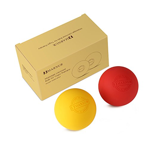 MARNUR Massage Balls Roller Lacrosse Exercise Balls for Pilates and Yoga Myofascial Trigger Point Release Plantar Fasciitis Muscle Knots, Set of 2 Extra Firm Balls