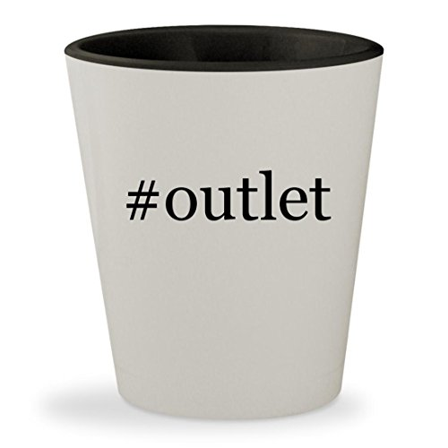 #outlet - Hashtag White Outer & Black Inner Ceramic 1.5oz Shot - Wrentham Stores Outlets