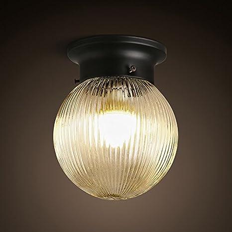 KHSKX Lámpara de techo,American Country esfera de cristal de ...