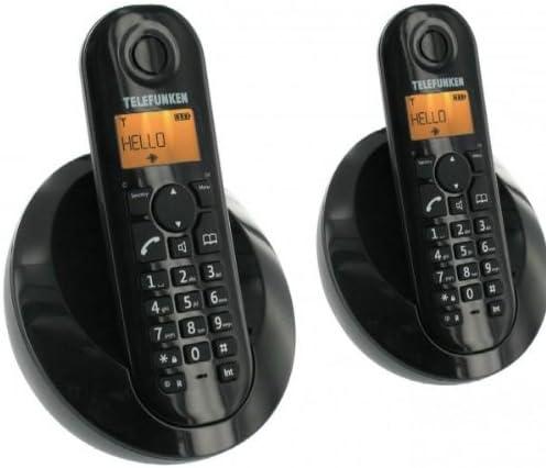 Telefunken TB202PFR Peps Duo - Teléfono fijo inalámbrico con manos libres, color negro (Pack de 2) [Importado de Francia]: Amazon.es: Electrónica