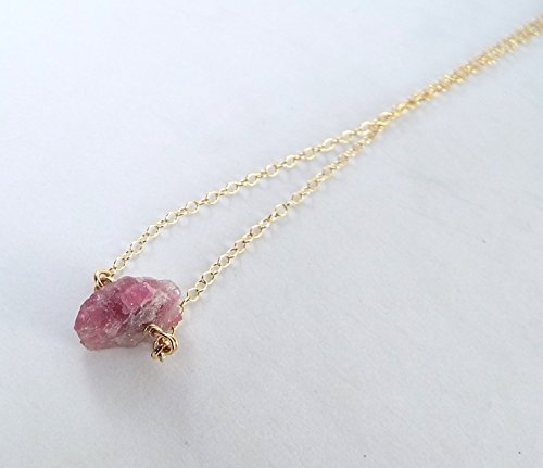 Captive Stone Watermelon Tourmaline Necklace (Gold Filled)