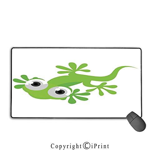 Stitched Edge Mouse pad,Reptile,Cute Lizard Looking at Us Creature Animal Primitive Nature Animation Reptile Design Decorative,Green White,Premium Textured Fabric, Non-Slip Rubber - Lizard Amethyst