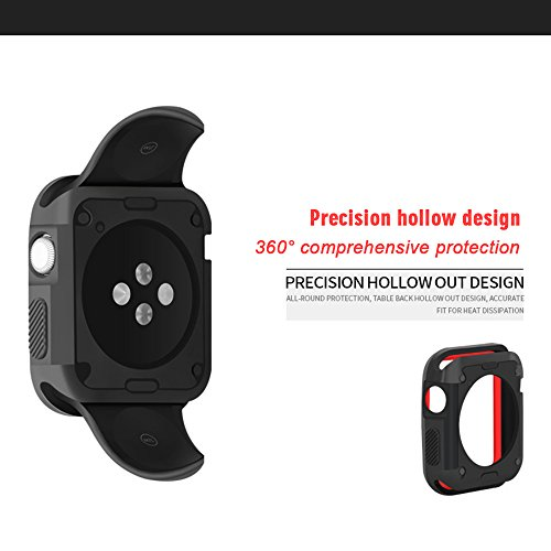 GerTong Armor Apple Watch Case 38mm with Resilient Shock Absorption for Apple Watch Series 3 2 1 and Nike Sport Edition (Black and red) by GerTong (Image #2)