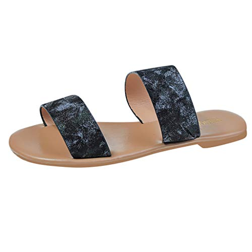 Kauneus Women's Open Toes Two-Strap Flat Sandals Classic Slip-On Slide Shoes Black