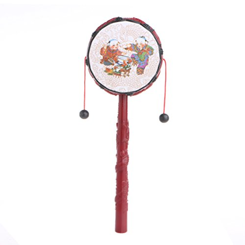 Misright Rattle Drum Hand Bell Shaking Baby Chinese Percussion Childrens Musical Toy Baby Hand