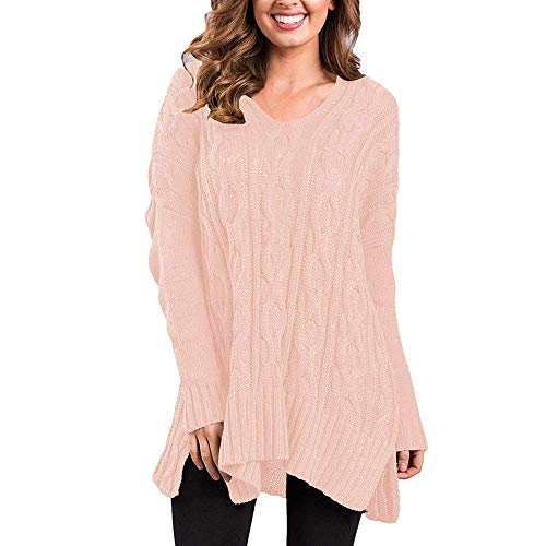 L Donna Manica Autunno Moda Pink Lunga Maglia Giacca Casual Felpe Spacco color Di Size Invernali V Giovane Monocromo A Maglieria neck Marca Elegante Comodo Pullover Mode dp4nxqxZ