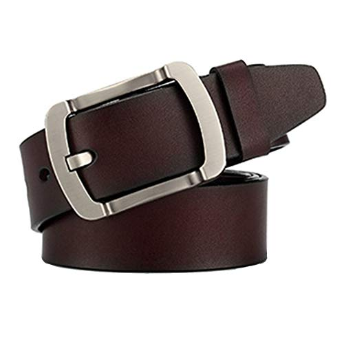 Men'S Cowhide Genuine Leather Belts Male Pin Buckle Vintage Casual Leather Buckles Belts, Length 125CM (Brown)