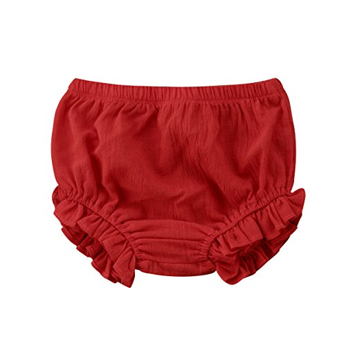 Mornbaby Baby Girl's Bloomers Cotton Ruffle Panty Diaper Covers Underwear Shorts Toddler Kids Girls (Red, 9-18 Months)