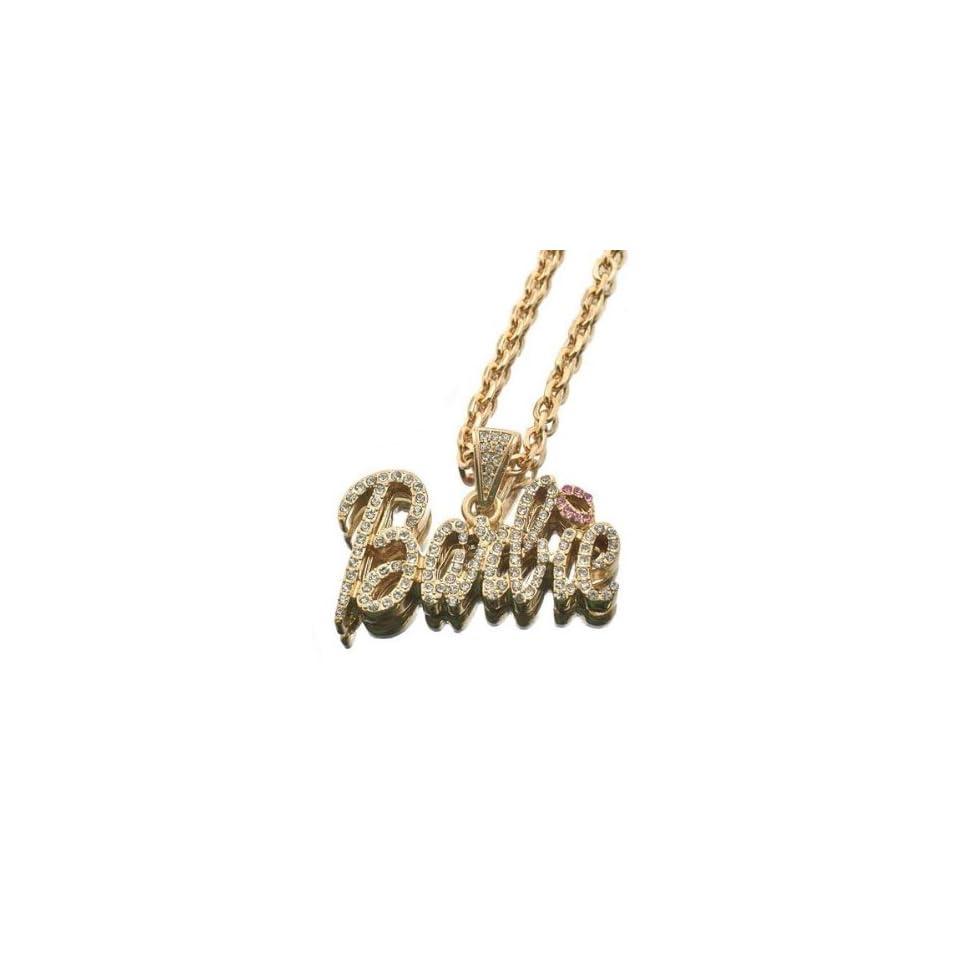 NEW NICKI MINAJ BARBIE Pendant w/18 Chain Gold Small Clear w/Lip