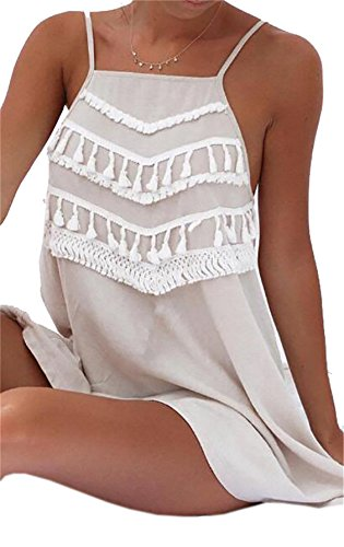 Domple Pompons Pour Femmes Mince Sangle Spaghetti Robe D'été Solide T-shirt Mini-robe Kaki