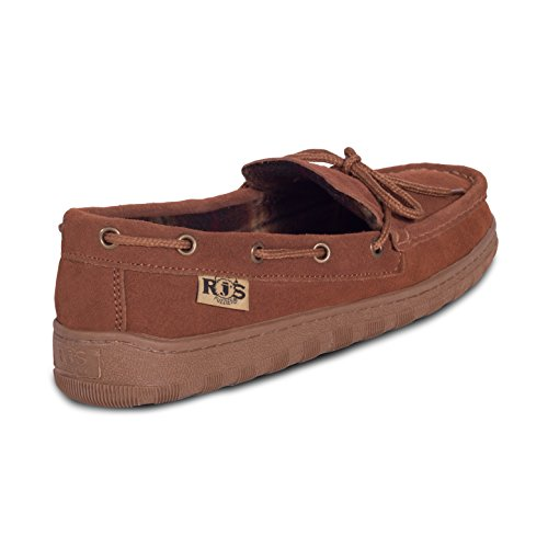 Chestnut Leather Mens Suede Fuzzies Upper Cowhide RJ's Unlined Moccasins 8HqAg