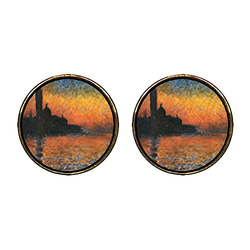 GiftJewelryShop Gold Plated Monet's San Giorgio Maggiore Photo Stud Earrings 12mm Diameter ()