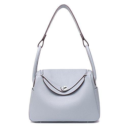 Purse Shoulder Blue Bag Grey Genuine Everyday Ainifeel Hobo Women's Leather wPB6UqAgx0