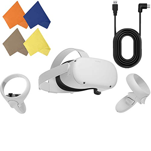 Oculus Quest 2 — Advanced All-in-One Virtual Reality Gaming Headset — Christmas Holiday Family Entertainment — White — 64GB Video — BROAGE 4 Colors Glasses Cleaning Cloth & 16ft USB Type-C Link Cable
