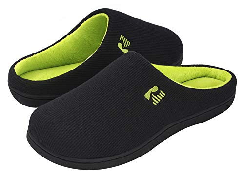 RockDove Men's Original Two-Tone Memory Foam Slipper, Size 9-10 US Men, Black/Lime