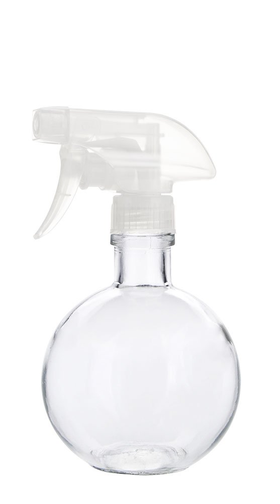 Round Recycled Glass Spray Cleaner Bottle with Clear Spray Nozzle - Lead Free Glass