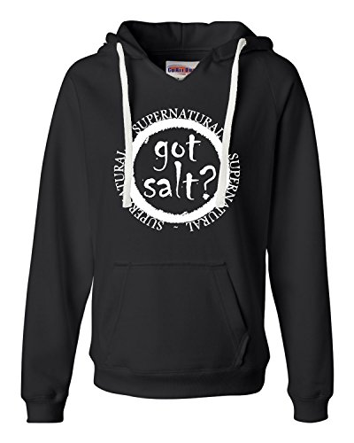 Large Black Womens Got Salt? Supernatural Deluxe Soft Hoodie -