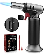 Kitchen Butane Torch, Culinary Torch Blow Torch Refillable Kitchen Butane Torch Lighter with Safety Lock and Adjustable Flame, Perfect for Desserts, Creme Brulee, BBQ and Baking