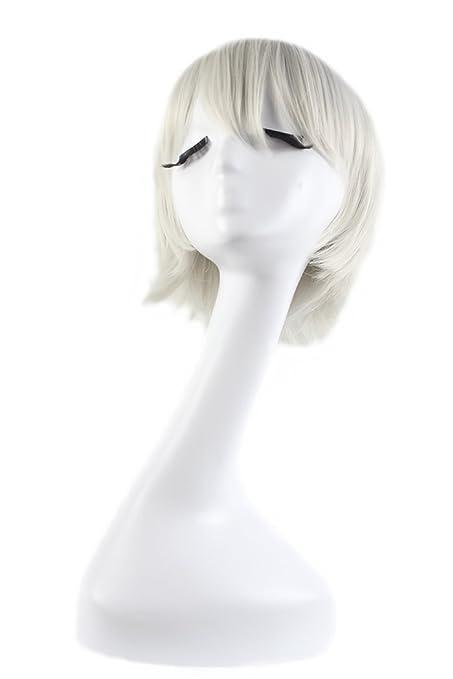 Xiaoyu Pelucas cosplay del pelo corto blanco de la astilla de la viruta del varón del