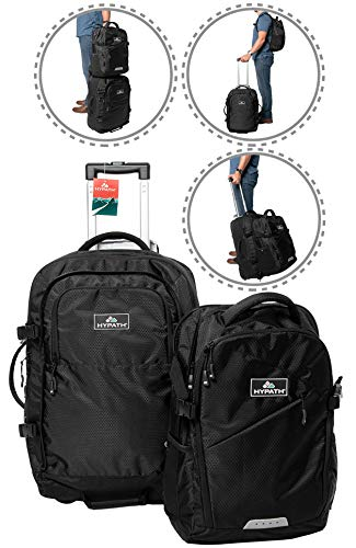 Hypath 2-in-1 Convertible Travel Bag - New Upgraded Version 3 Here - Use as Backpack with Wheels, Wheeled Carry On, or Stacked Rolling Luggage - Comes with Detachable Daypack