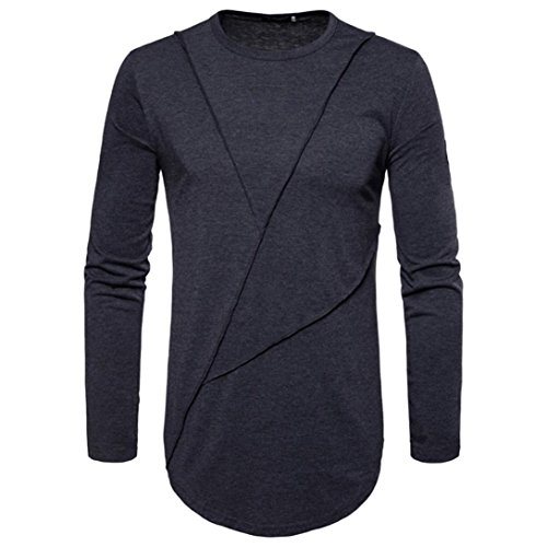 New Hot Sale!PASATO Fashion Men's Autumn Pure Color Joint Long Sleeved Sweatshirts Top Blouse(Dark Gray,M) by PASATO (Image #2)