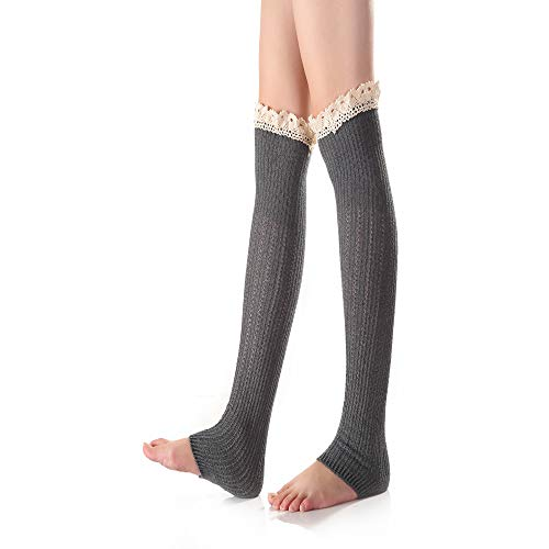 Zhao Xiemao Knee Support Brace Women's Winter Boot Socks Lengthen Elastic Knit Crochet Ruffle Warm Socks Legging Stocking with Lace Trim Protection Against Reinjury