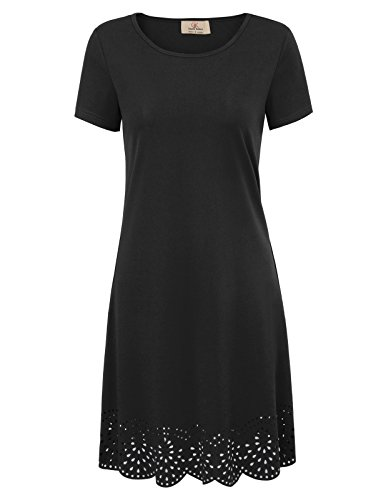 GRACE KARIN Women's Loose Short Sleeve Shirt Casual Tunic Dress Size XL Black